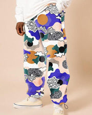 Multicolor Print Baggy Straight Teddy Pants