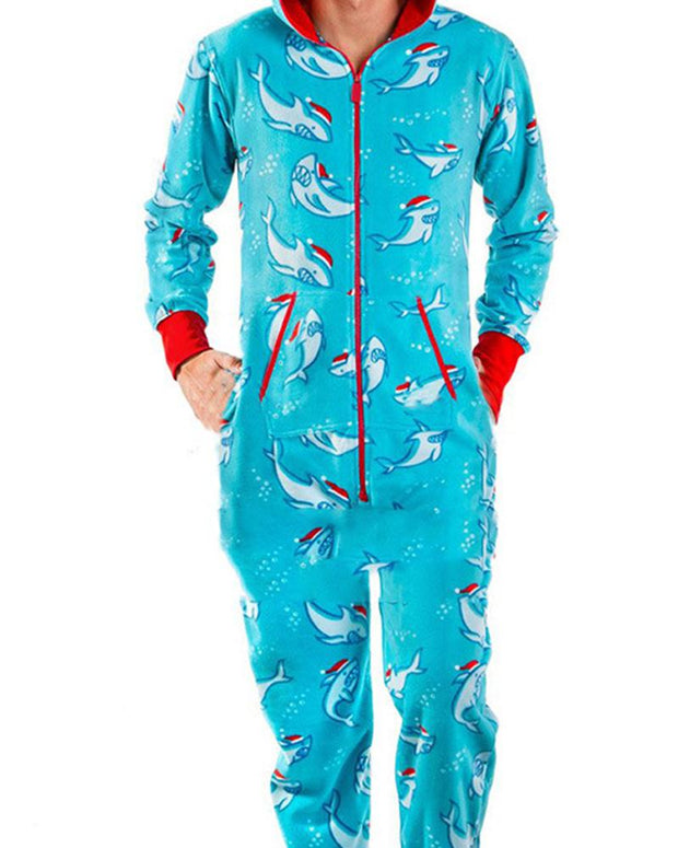 Christmas Patterns Print Long Sleeve Loose Hoodies Jumpsuit