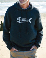 Fish Bone Print Long Sleeve Hooded Sweater