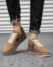 Solid Round-toe Suede Leather Lace-up Sneakers