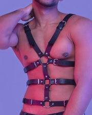 Sexy Studded O-ring Leather Harness