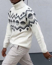 Retro Patterns Long Sleeve High Neck Sweater