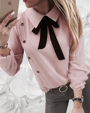 Contrast Tied Neck Buttoned Casual Shirt