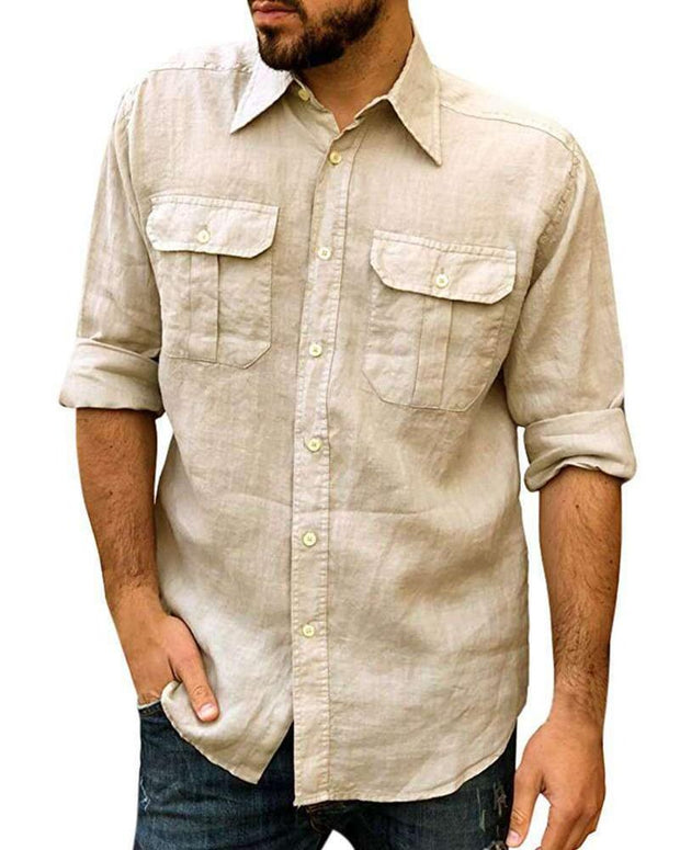 Solid Color Double Pocket Long Sleeve Shirt