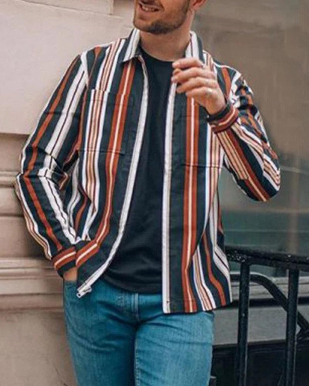 Striped Front Pocket Casual Shirt