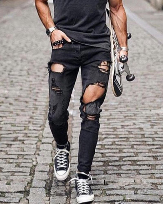 Solid Ripped Skinny Denim Pants