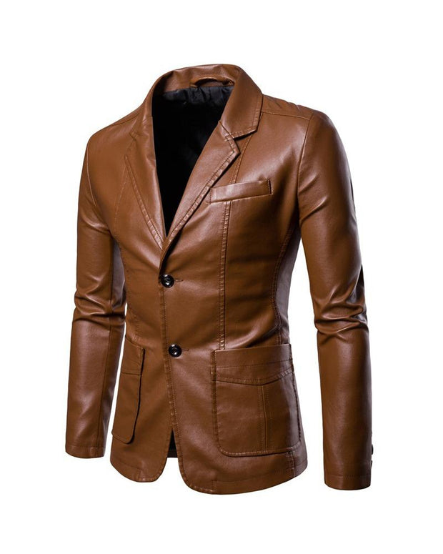 Solid Color PU Long Sleeve Blazer With Pocket