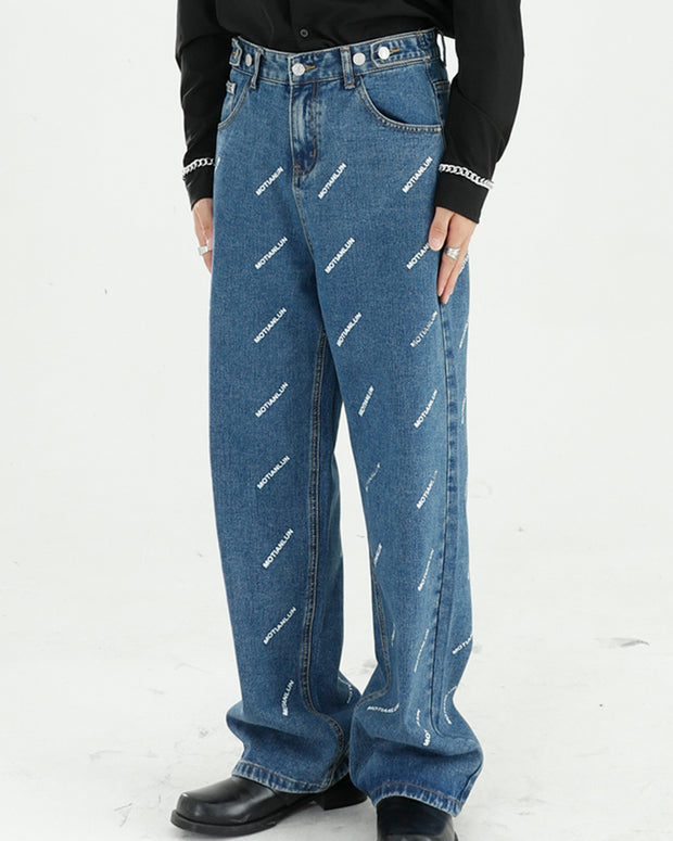 Letter Print Long Straight Jean Pants