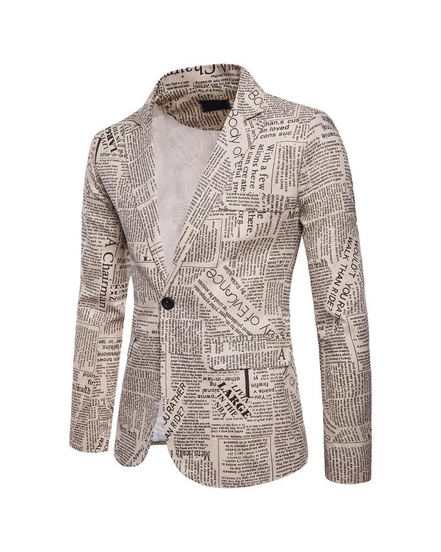 Newspaper Printing Long Sleeve Blazer Coats