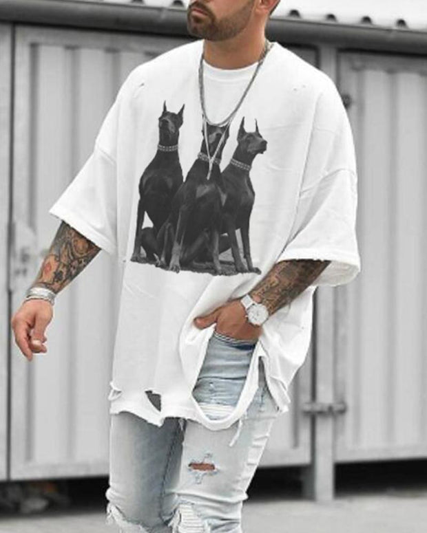 Casual Dog Print Ripped Oversized T-shirt