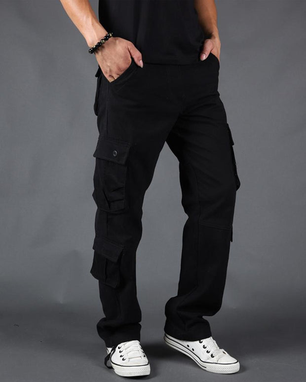 Solid Loose Straight Leg Cargo Pants