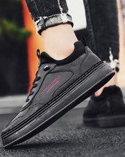 Colorblock Lace-up Round-toe PU Sneakers