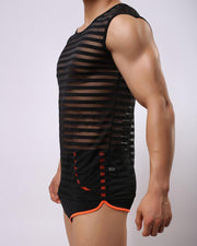 Striped Mesh Sleeveless Breathable Tanks