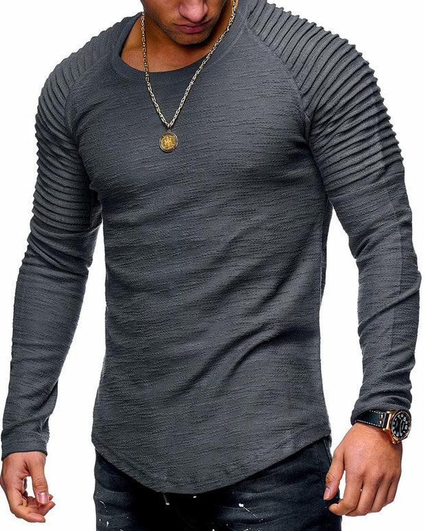 Round Neck Pleated Sleeve T-Shirt