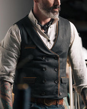 Solid Double-breasted Pocket Waistcoat