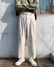 Solid Straight Loose High Waist Pants