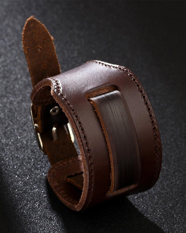 Solid Punk One Buckle PU Leather Bracelet