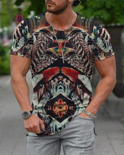 Classic Patterns Print Short Sleeve Loose T-shirts