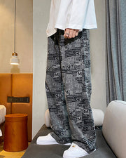 INS Style All Over Print Straight Long Knitted Jean Pants