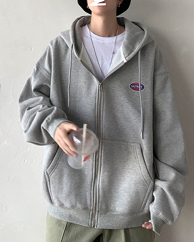 Solid Long Sleeve Hooded Zip-up Coats