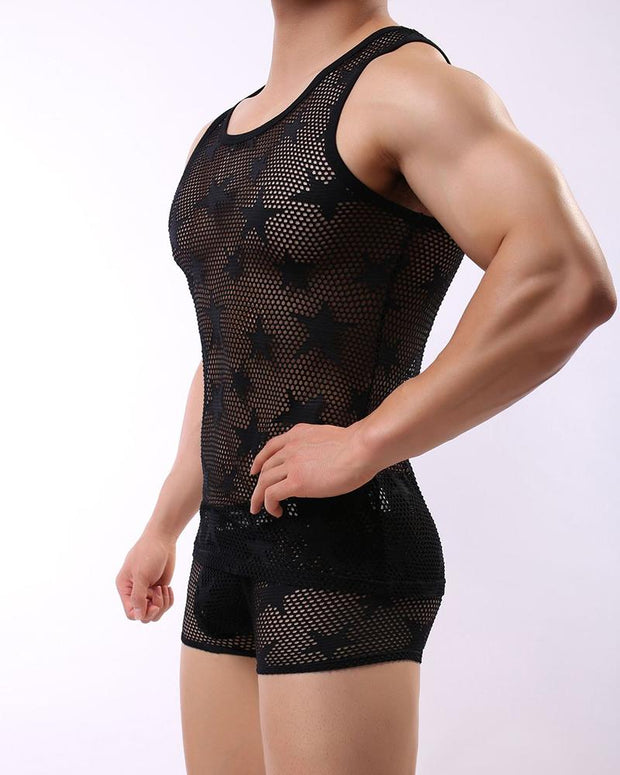 Star Embossing Fishnet Sleeveless Tank