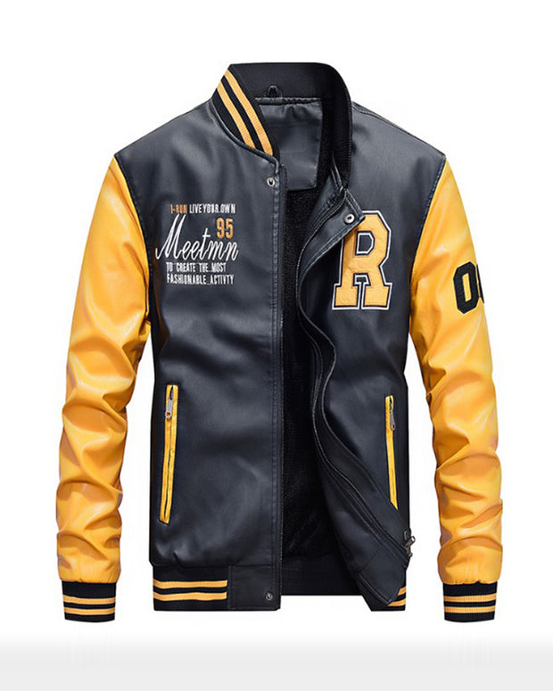 Embrordery Colorblock Long Sleeve Baseball Jackets