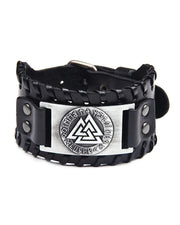 Viking Logo Metallic Decoration Leather Bracelet