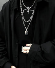 Hip-hop Cross Layered Pendant Necklaces