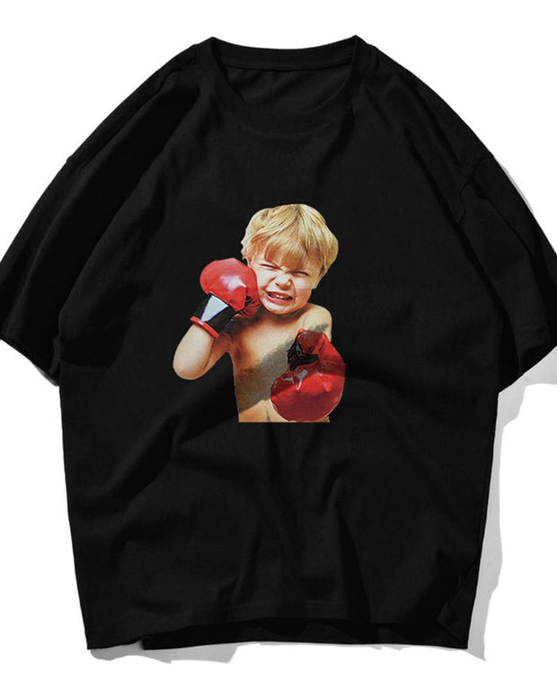 Boxing Boy Print Short Sleeve Oversized T-shirts