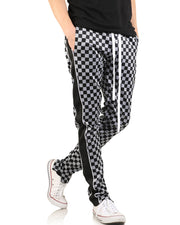 Small Cube Print Striped Side Drawstring Long Straight Pants