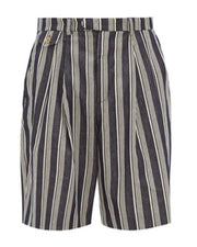 Casual Striped Woven Short Straight Pants