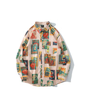 Smoking Package Print Long Sleeve Loose Shirts