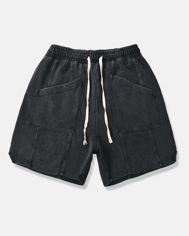 Solid Fading Drawstring Loose Shorts