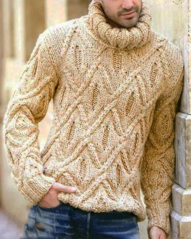 Solid Long Sleeve Cable-knit Sweater