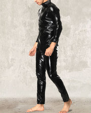Solid Color Long Sleeve Lacquered Leather Jumpsuit