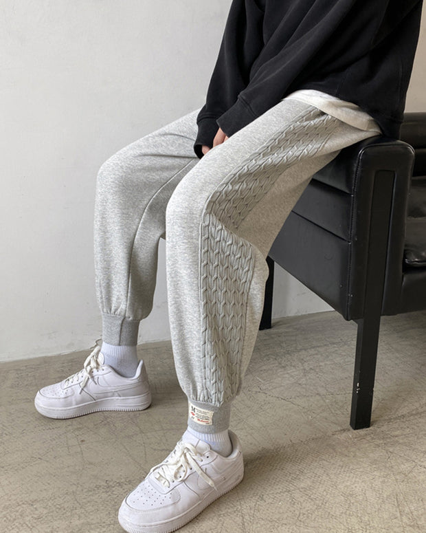 Solid Color Embossing Baggy Jogger Pants