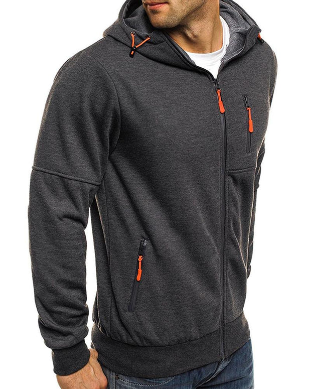 Solid Zipper Long Sleeve Hooded Coats