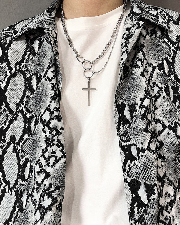 Cross Pendant Hip-hop Punk Chain Necklace