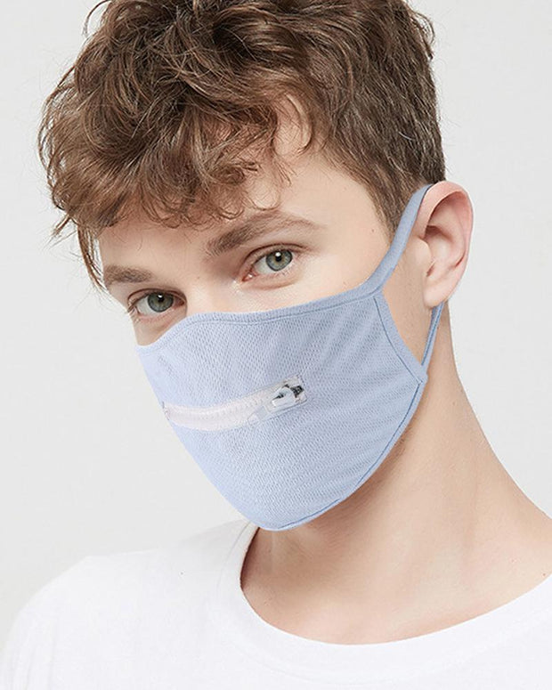 Colorblock Zipper Front Mouth Mask