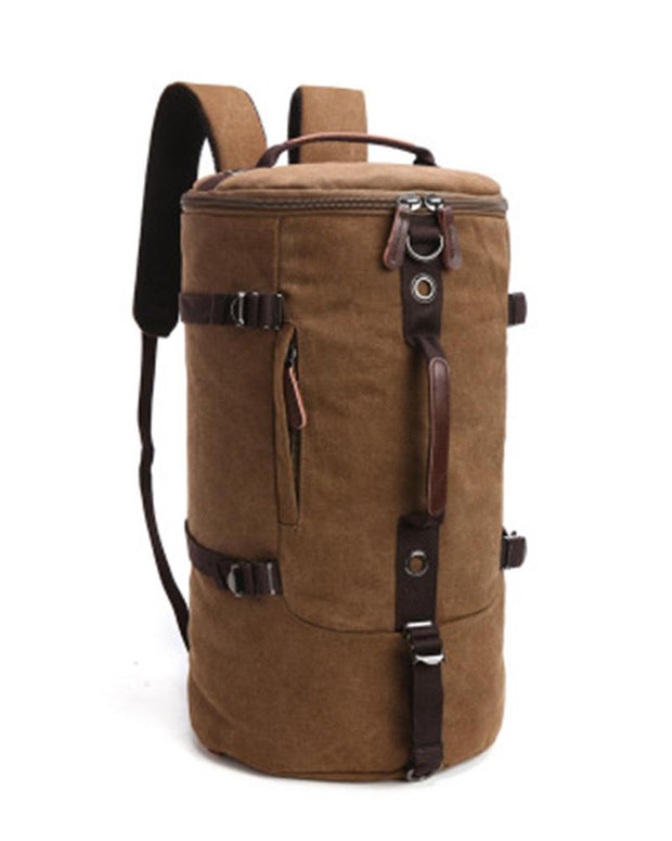 Solid Color Canvas Cylinder Backpack