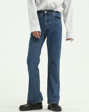 Solid Elastic Flared Denim Pants