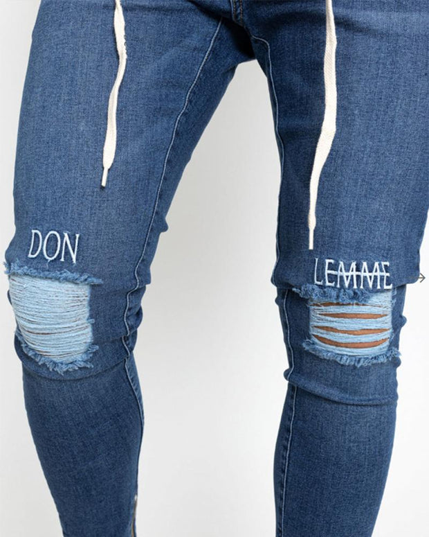 Embroidery Ripped Drawstring Pencil Pants