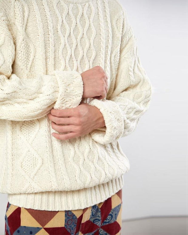Solid Long Sleeve Twist Knitted Sweater