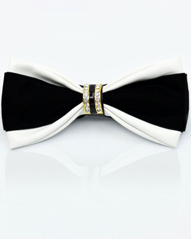 Business PU Splicing Metal Bow Tie For Men