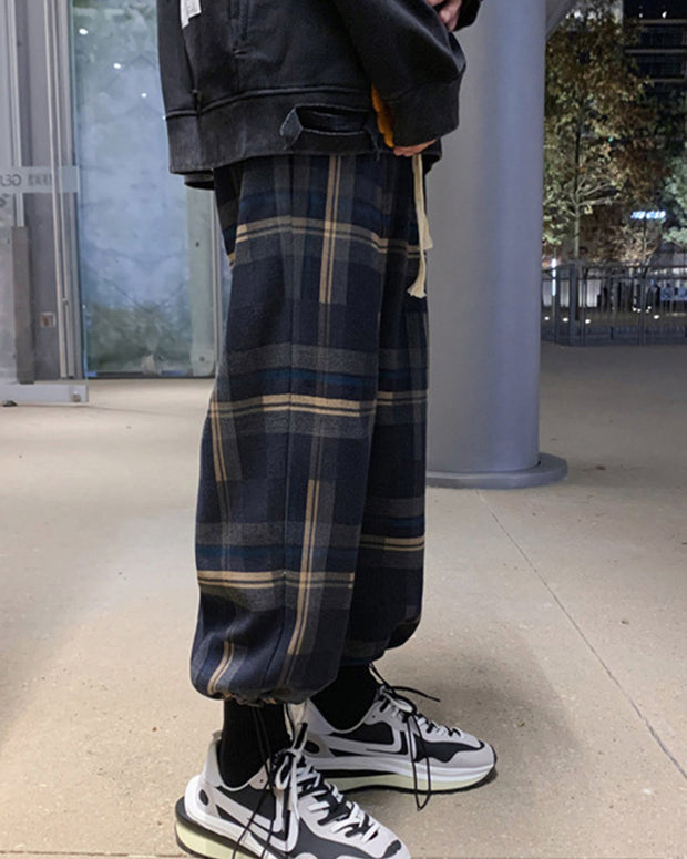 Multicolor Plaid Drawstring Straight Baggy Pants