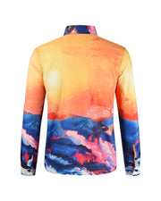 3D Scenery Print Long Sleeve Loose Button-up Shirts