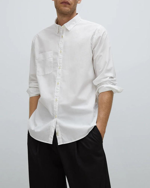 Solid Long Sleeve Loose Button-down Shirts
