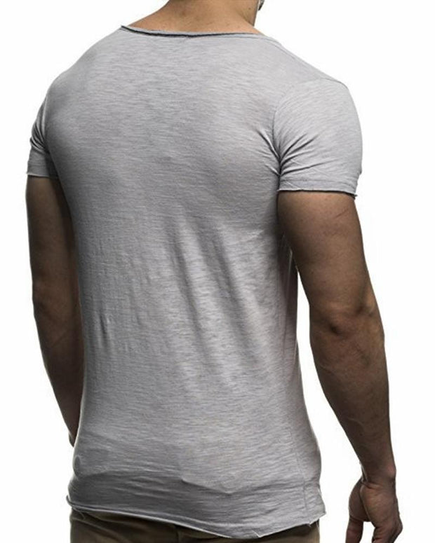 Solid V Neck T-Shirt