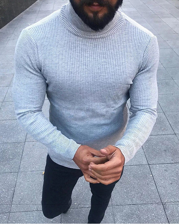 Solid Long Sleeve Skinny Knitted Sweater