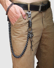 Punk Ox Horn Metal Chain Pants